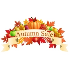 Autumn sale banners with multicolor autumn leaves vector image