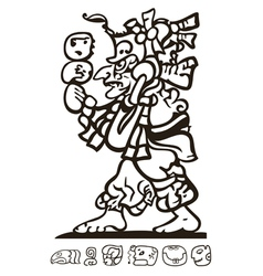 Aztec man with Mayan and Inca icons vector