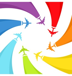Background with rainbow airplanes vector image