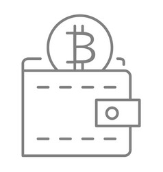 bitcoin wallet thin line icon wallet with coin vector image