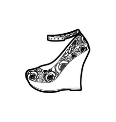 Black thick contour of high heel platform shoe vector