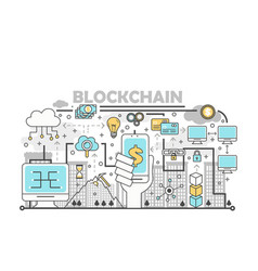 Blockchain technology process concept vector