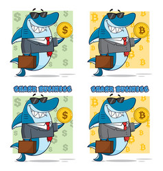 blue shark cartoon character collection set - 3 vector image