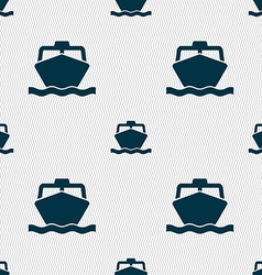 boat icon sign Seamless pattern with geometric vector image
