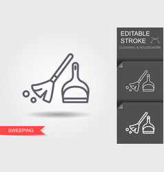 Broom and dustpan line icon with editable stroke vector
