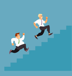 business men running up the stairs vector image