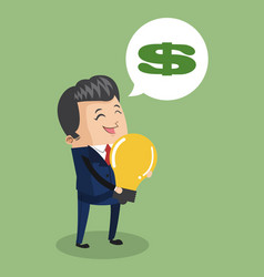 Businessman with big idea vector