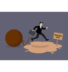 Businessman with the weight jumping over the vector image