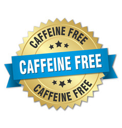 Caffeine free round isolated gold badge vector