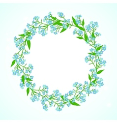 Card with forget me not flowers wreath vector