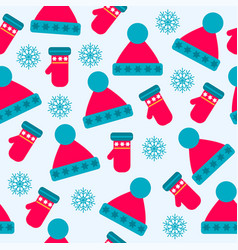 christmas seamless pattern with hats gloves and vector image