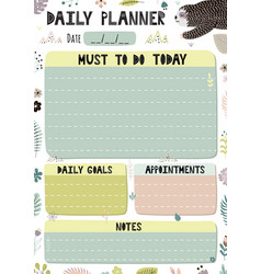 Colorful daily planner template cartoon organizer vector