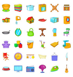 Comfortable house icons set cartoon style vector