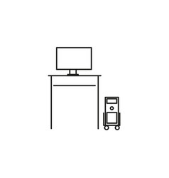 computer desk icon vector image