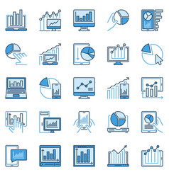 computer device with chart or graph creative vector image