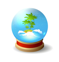 Crystal ball with tropical island inside vector