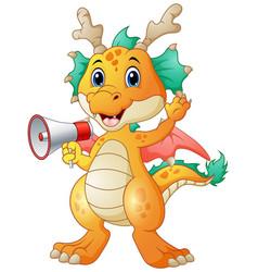 Cute dragon cartoon holding a loudspeaker vector