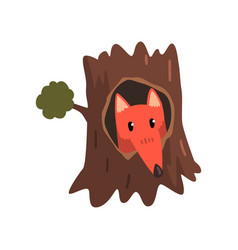 cute fox sitting in hollow of tree hollowed out vector image