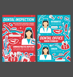 Dentist clinic and dental healthcare care poster vector
