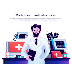 Doctor medical service poster vector