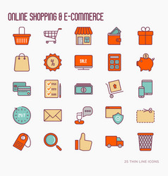E-commerce shopping thin line icons set vector