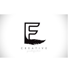 E feather letter logo icon design with feather vector