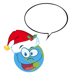 Earth with santa hat cartoon vector image