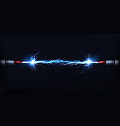 electrical discharge between power cables vector image