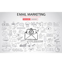 Email Marketing with Doodle design style vector image