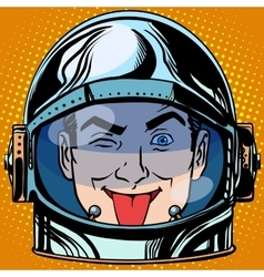 emoticon tongue Emoji face man astronaut retro vector image