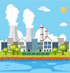 Factory scene with buildings and chimneys vector