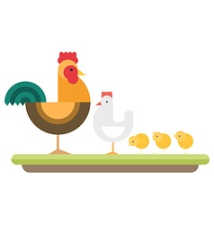 Farm animal Rooster hen and chickens flat style vector image vector image