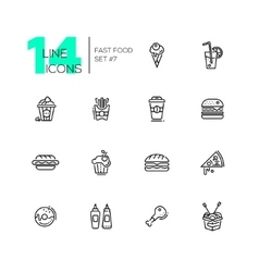 Fast Food Cafe Menu Icons Set vector image