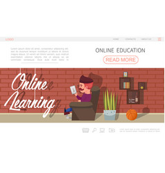 Flat online education website concept vector