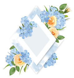 floral background with roses flocks and frame vector image
