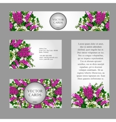 Four business cards with white and pink flowers vector