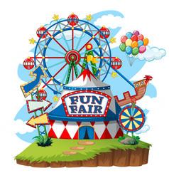 Fun fair theme park on isolated background vector