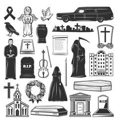 Funeral symbols cemetery and death grief icons vector