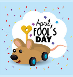 Funny mouse toy to fools day vector