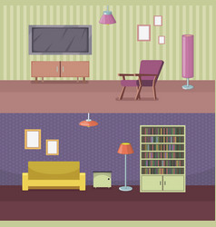furniture horizontal banner set with house vector image