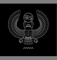 Graphic print of egypt scarab pattern on black vector