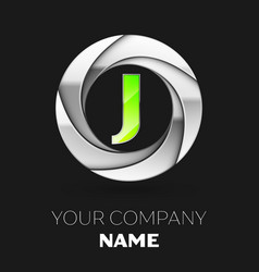 green letter j logo symbol in the silver circle vector image