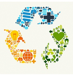 Green recycle symbol icons vector image