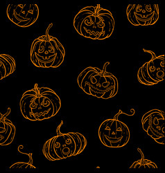 halloween seamless pattern black and white vector image