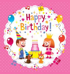 Happy Birthday cute kids card vector image