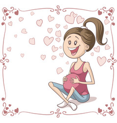 Happy pregnant woman cartoon vector