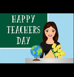 Happy teachers day concept with teacher vector