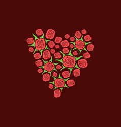 heart of scattered roses vector image