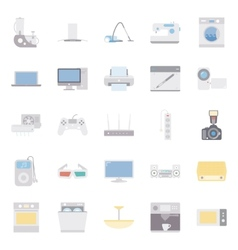 Home electrical appliances color flat icon set vector image