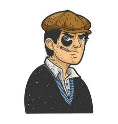 hooligan man black eye sketch vector image